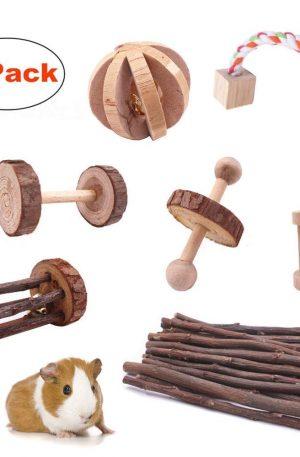 juguetes de madera para masticar de pino natural 7 piezas