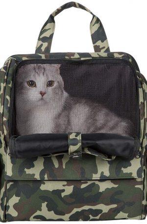 Bolso de Transporte para Mascotas de Tela con Asas 3 Ventanas en Malla 3 Bolsillos