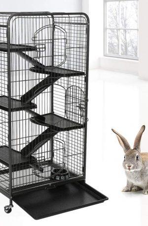 Jaula desmontable para conejos toy, enanos y pequeños con cinco niveles