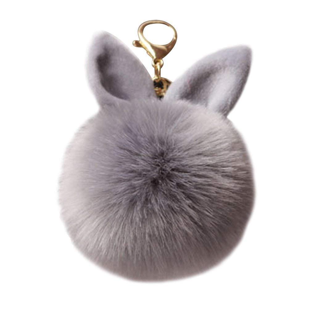 Lindo pompón bola de piel de felpa llavero oreja de conejo