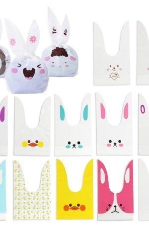 bolsa de comida y compras de conejos adorables