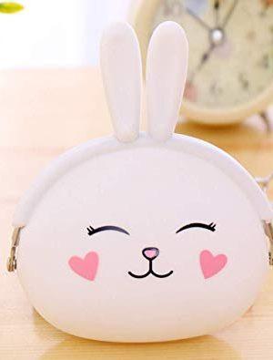 bolso de mano monedero conejo blanco y rosa