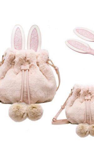 bolso peludo de conejo femenino