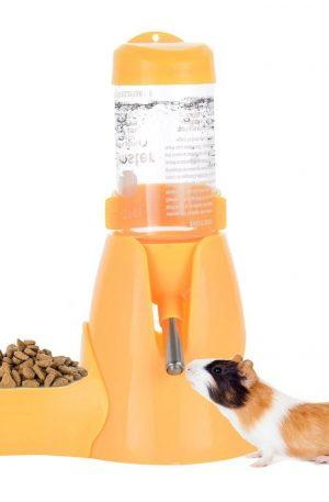 comedero dispensador para conejos y otras mascotas con sistema de agua anexo