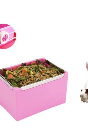comederos para conejos color rosa sistema de enganche en jaulas