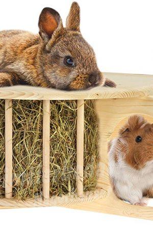 divertido comedero cubierto hecho de madera maciza cueva para rodedores y conejos