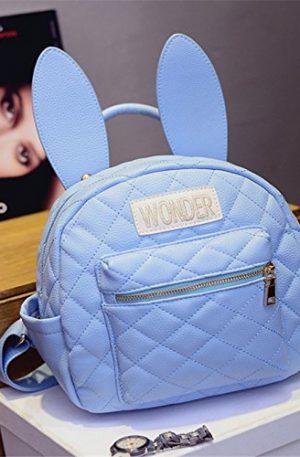 mochila escolar negra y azul de conejo