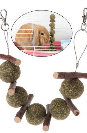 Mordedores para conejos rama de árbol manzana y bolas colgantes