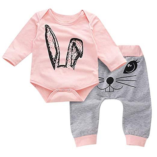 ropa de bebé niña manga larga conjunto para el frío conejitos grabados