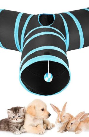 tunel juego de tubo 3 vías para conejos gatos y perros