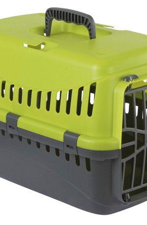 transportador rigido color verde para vuelos y viajes, mascota segura