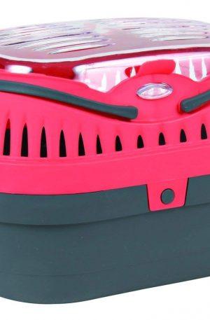 transportin de roedores color rosa, gris y amarillo