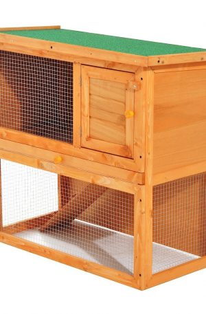 casa de madera mediana con dos niveles para conejos