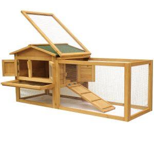 jaula para conejos de madera con rampas y corral dos niveles