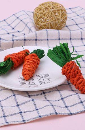 juguetes para limpieza dental de conejos forma zanahorias