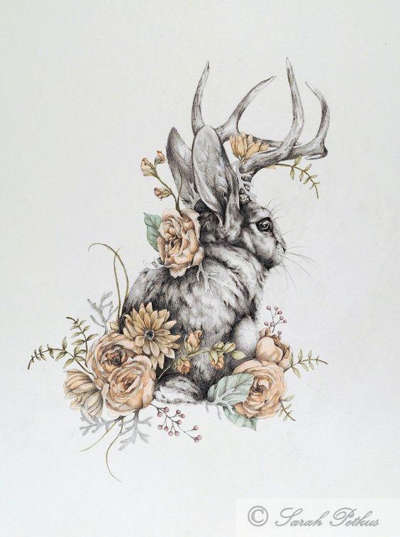 dibujos-de-conejos-flores